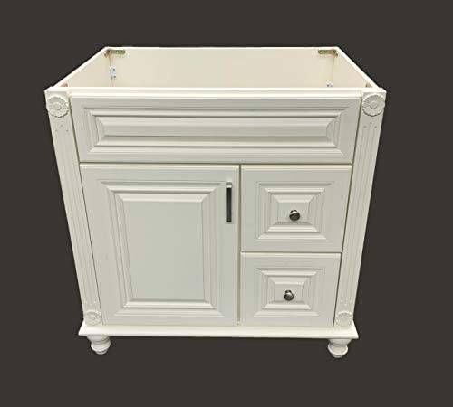 Antique White solid wood Single Bathroom Vanity Base Cabinet 30 W x 21 D x 32 H RIGHT Drawers