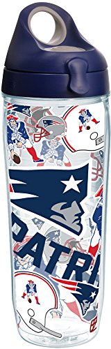 Bottle Nfl Water - Tervis 1248183 NFL New England Patriots All Over Tumbler with Wrap and Navy with Gray Lid 24oz Water Bottle, Clear