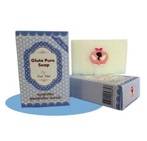 (1 Dozen) Gluta Pure Plus AHA Soap By Wink White 70g.