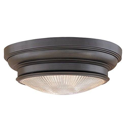 Hudson Valley Lighting Woodstock 3-Light Flush Mount - Old Bronze Finish with Clear Prismatic Glass Shade by Hudson Valley Lighting