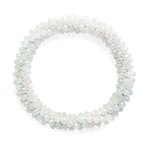 Beaded Bangle Bracelet Stretch (MHZ JEWELS White Cream Crystal Beaded Stretch Bangle Bracelet Bling Glass Bead Healing Bracelet for Women Girls)