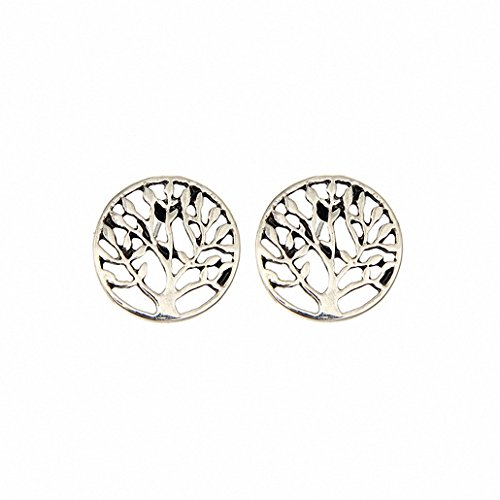 HONGYE JEWELRY Womens Plated Gold Silver Round Celtic Tree of (Celtic Gold Stud)