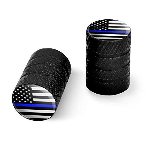 シンブルーラインアメリカンフラッグオートバイ自転車バイクタイヤリムホイールアルミバルブステムキャップ - ブラック