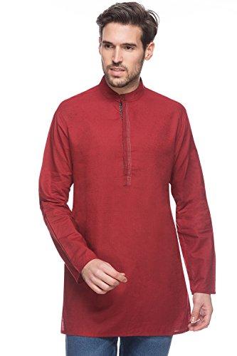 Shatranj Men's Indian Mid-length Kurta Tunic Banded Collar Textured Shirt; Maroon; MD by Shatranj