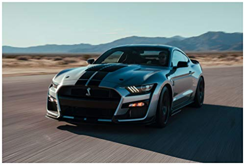 (Ford Mustang Shelby GT500 (2020) Car Art Poster Print on 10 Mil Archival Satin Paper Silver Front Side Motion View (24