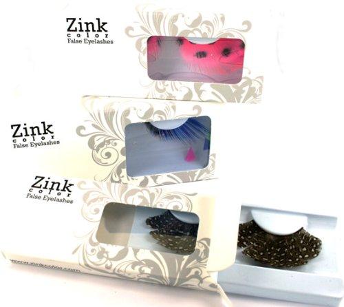 Zink-Color-Cobalt-Blue-With-Sparkling-Gold-Glitter-False-Eyelashes-E858-Costume