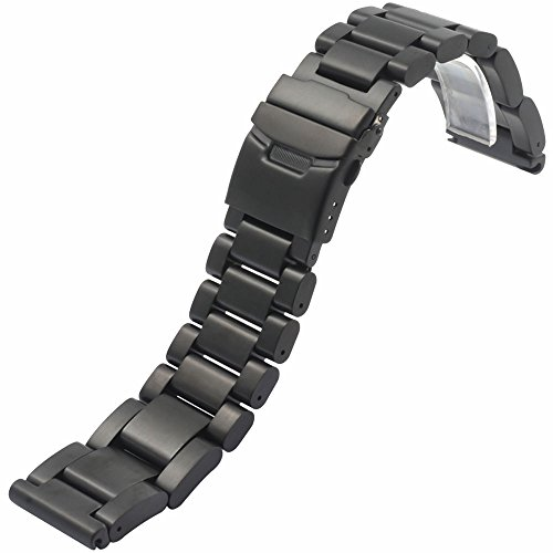 Double Locking Fold Over Clasp - YISUYA 26mm Solid Stainless Steel Band 2.6cm Width Wrist Watch Band Strap Double Locking Fold-over Clasp Mens Steel Straps Black