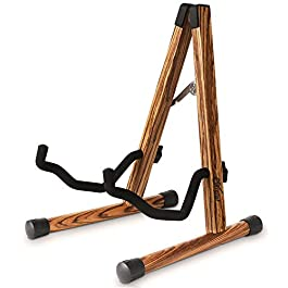 Wood Guitar Stand, Compact Acoustic Guitar Stand with Padded Foam, Classical Electric Guitar Stand, A-Frame Folding Bass…