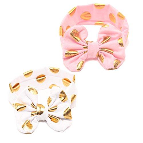 Cotton Baby Girls Big Bow Headband with Gold Polka Dot Bronzing kids Knotted JA600 (White Pink) -