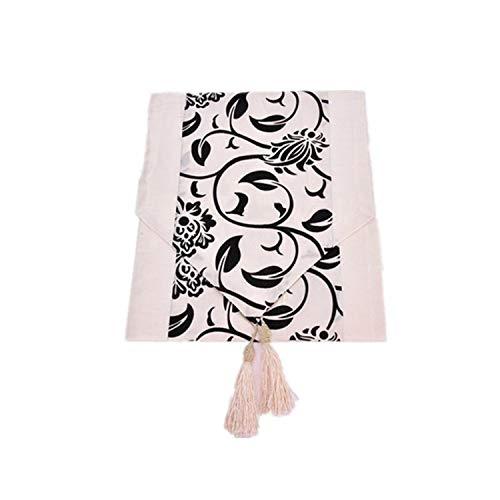 homesDecor Luxurious Flower Tablecloth Raised Flower Wedding Decoration Tassel Blossom Flocked Damask Table Runner Cloth Cover,White,200x30cm ()