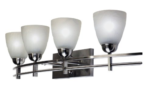 (Marquis Lighting 1204-231-1-SCH Wall Vanity with Alabaster Shades, Satin Chrome)