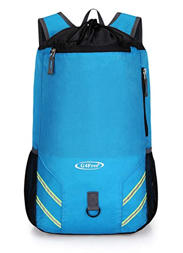 G4Free 32 L Lightweight Backpack Travel Hiking Backpack Foldable Water Repellent Drawstring Bag Sackpack for Men Women Gym Sports Swimming (Blue)