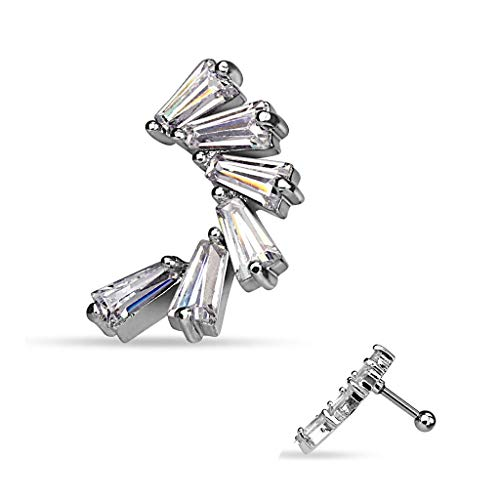 (Princess Cut CZ Lined Crescent 316L Surgical Steel Cartilage/Tragus WildKlass Bar (Sold by Piece))