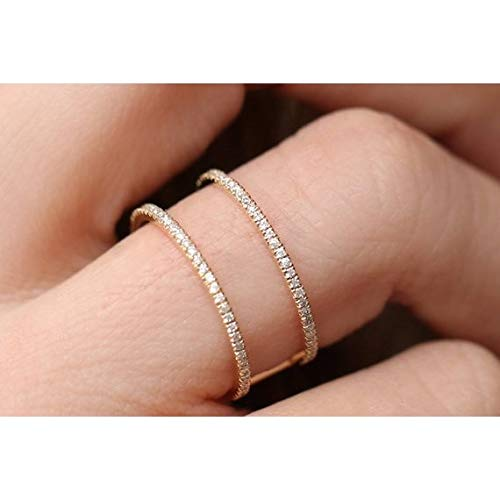 Huitan Band Ring with Clear Cubic Zircon Pave Setting Minimalist Engagement Wedding Rings