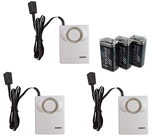 Instapark IN07A Battery-Powered Water Leakage Detection Alarm and Sensor, 130 dB, 3 Pack Batteries Included