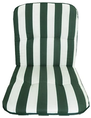Garden Chair Seat Cushion For Low Backrest With Green White Vertical  Stripes Outdoor