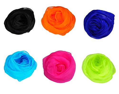 HERRICO Brightly Colored Nylon Dancing And Juggling Scarves Fashion Multicolor 6PCS B - Diy Holding Head Costume