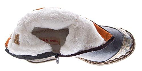 TMA 5050 Botines de piel para mujer, para invierno, forrados, color negro, blanco, verde y azul negro y gris
