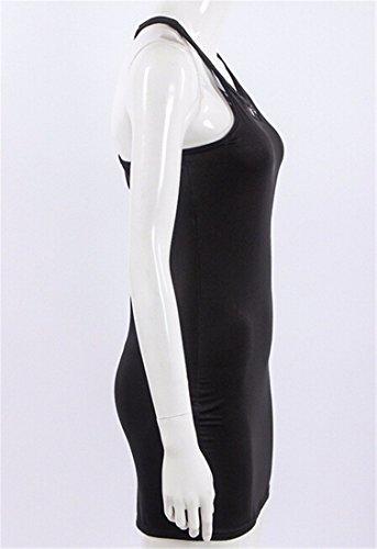 QIYUN.Z Mangas Atractivo De Las Mujeres De La Manera Delgada Cadera Del Paquete Vestido De Empalme Verano Negro Caliente Negro