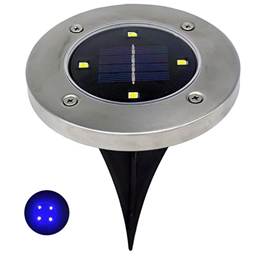 Euone Solar 4 LED Outdoor Path Light Spot Lamp Yard Garden Lawn Landscape Waterproof (Blue) Garden Spot Wallpaper