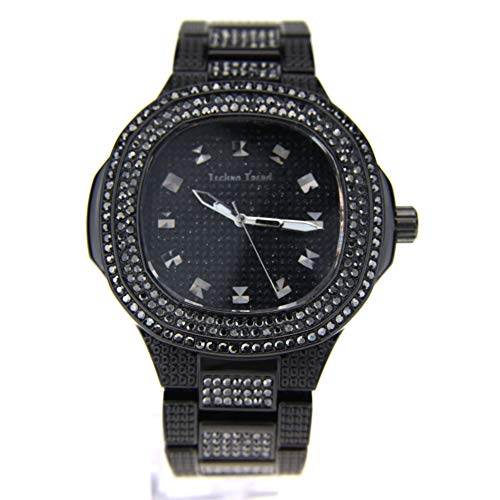 Mens Luxury Bling Iced Out Round Gangster Metal Analog Wrist Watch (Gunmetal Black)