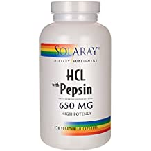Solaray High Potency HCL + Pepsin 650 mg 2VCapsules, 250 Count