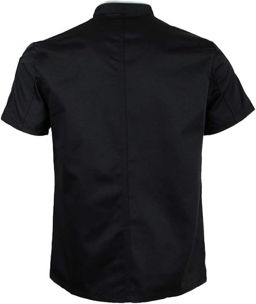 Baoblaze Unisex Giacca Estiva Da Cuoco Traspirante Cappotto Da Cucina Uniforme Da Forno Maniche Corte Bottoni Automatici Invisibili Abbigliamento Da Cuoco M-3X