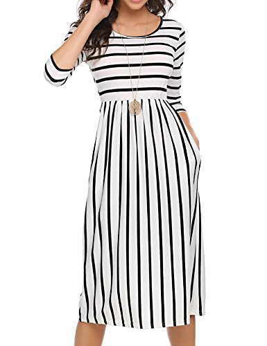 Halife Women's Casual Loose Long Summer Dress Midi Dress White,XL