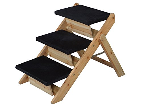 1 Set Credible Modern 2in1 Pet Stairs Ramp Portable Carpeted Staircase Puppy Steps Ladder Color Black and Wood (Trailer Hitch Pet Step compare prices)