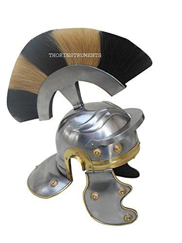Price comparison product image Roman Armor Helmet WHITE+BLACK Plume Medieval Knight Crusader Spartan Steel