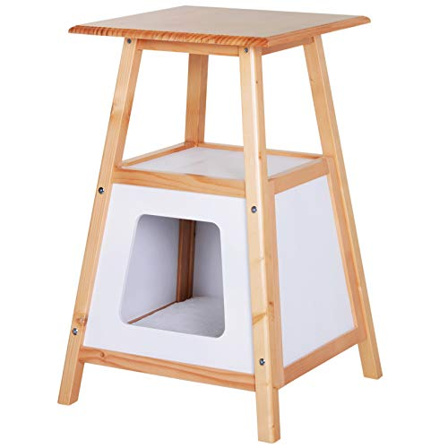 "PawHut 24"" Modern Wood Cat House and Side Table with Storage Shelf"