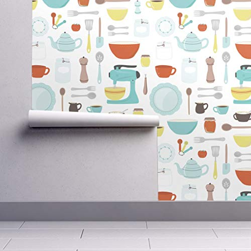 (Peel-and-Stick Removable Wallpaper - Vintage Kitchen Retro Vintage Kitchen Baking Bowl Kitchen Cooking by Calobeedoodles - 24in x 144in Woven Textured Peel-and-Stick Removable Wallpaper Roll)