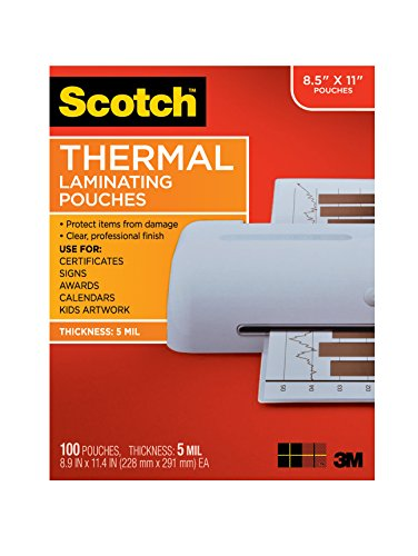 Scotch Thermal Laminating Pouches, 8.9 x 11.4-Inches, 5 mil thick, 100-Pack (TP5854-100),Clear 100 Hot Laminating Pouches