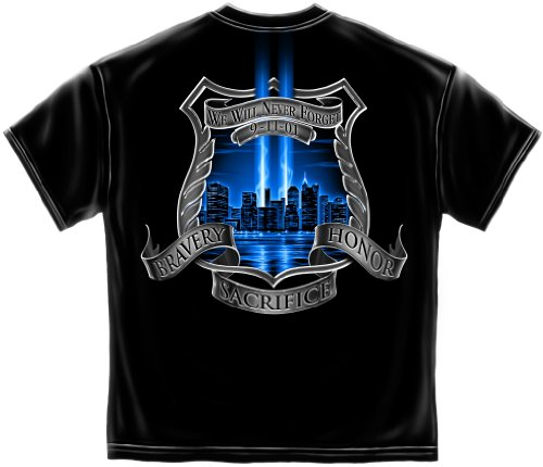 Law Enforcement Short Sleeve Shirts, 100% Cotton Casual Men's Shirts, Show Your Pride with our Law Enforcement 911 Tribute T-Shirts for Men or Women (Large)