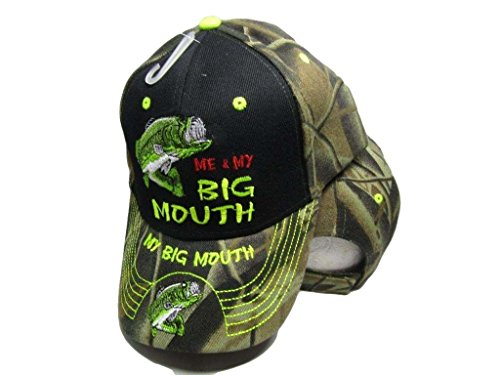 K's Novelties Me & My Big Mouth Fishing Bass Camouflage Black Front Embroidered Cap Hat 924A ()