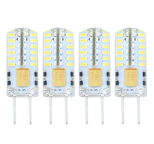(Lamsky G6.35 GY6.35 Bi-Pin Base LED Bulb,12V/24V 2.5W Daylight 6000K,JC Type Halogen Replacement Bulb,Not Dimmable,30W Equivalent(4-Pack))