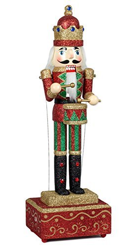 Musicbox Kingdom Big Wooden Nutcracker with Glitter Moves The Arms to The Tune of Nutcracker Suite Decorative Item