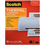 Scotch Thermal Laminating Pouches, 8.9 x 11.4-Inches, 5 mil thick, 100-Pack (TP5854-100),Clear