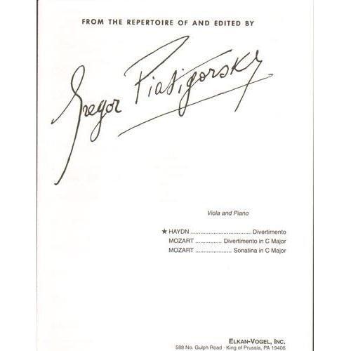 Haydn, Franz Joseph Divertimento Viola and Piano edited by Gregor Piatigorsky - Elkan-Vogel Edition