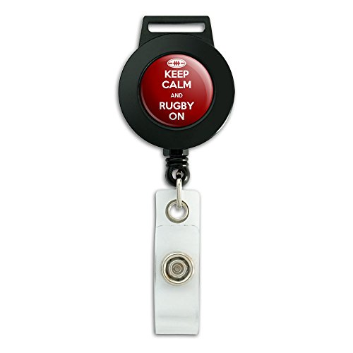 Rugby Badge (Keep Calm And Rugby On Sports Lanyard Retractable Reel Badge ID Card Holder)