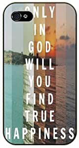Only in God will you find true happiness - Colorful sea - Bible verse iPhone 4 / 4s black plastic case / Christian Verses