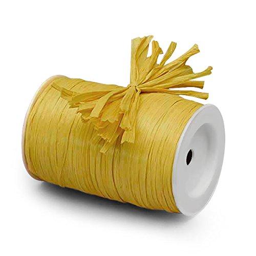 (Yellow Matte Raffia Ribbon 1/4