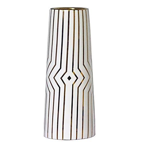 HCHLQLZ 30cm Blanco Raya del Oro Decorativos Modernos Ceramica Jarrones de Flores para Mesa de Comedor Sala de Estar Idea Regalo para Cumpleanos Boda Navidad