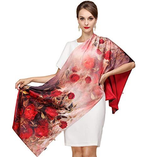 K-ELewon Silk Scarf Fashion Scarves Long Sunscreen Shawls for Women SK062(Flower ()