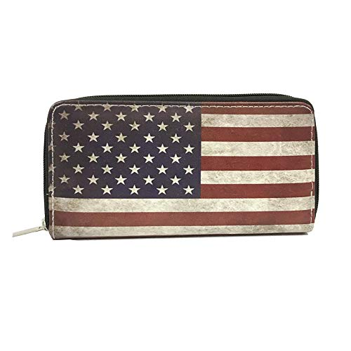 Women Wallet Zip Around USA US American Flag Print Zipper Card Holder Vintage-Single Zip