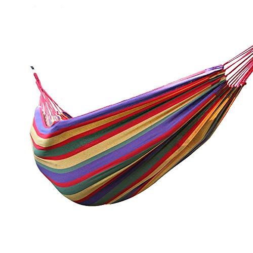 Hooco Multicolor Hammock190 80cm / Breathable Cotton Fiber 2 Nylon Rope Bag - Single Cotton Hammock Portable for Outdoor Camping Garden Sleeping Load (Color : Q-2) ()