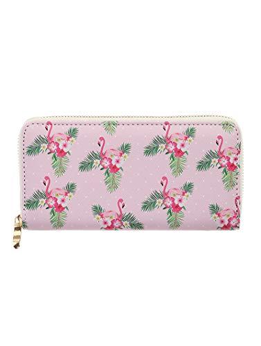 (Vinyl Clutch Wallet Purple Zipper Flamingo Hibiscus Bag Accessory)