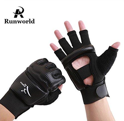 Leather Wrist Wrap Grappling Gloves - Runworld Men Kids Taekwondo Gloves Punch Bag Boxing Martial Arts MMA Sparring Grappling Muay Thai Training Gear PU Leather Wrist Wraps Gloves, Black (Medium)
