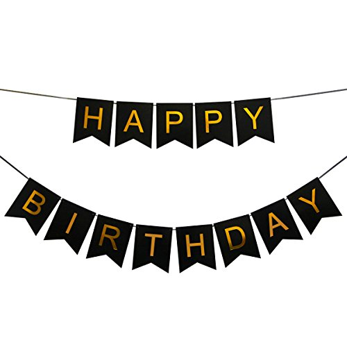 INNORU Happy Birthday Banner Black and Gold Birthday Bunting Stylish Decorations and Party Supplies
