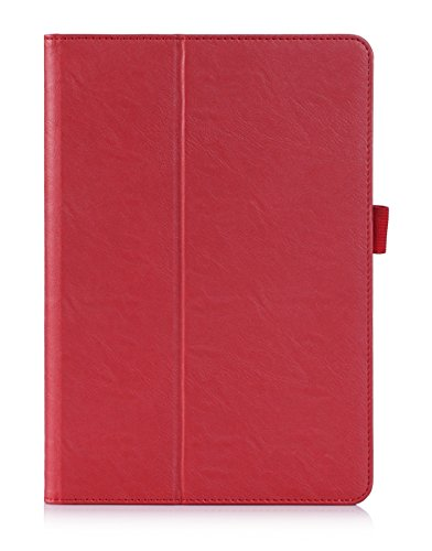 Fitmore For Samsung Galaxy Tab A 9.7 T550 PU Leather Case Flip Stand Card Slots Cover with Elastic Hand Strap and Pen Holder (Red)